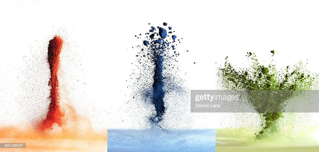 Variety of exploding pigment powders : Stock Photo
