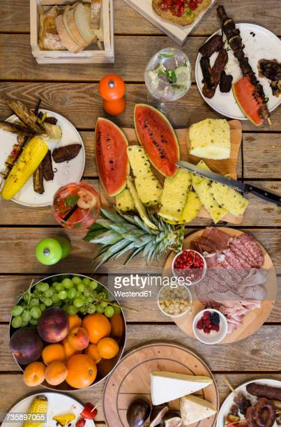 Variety of food on outdoor table