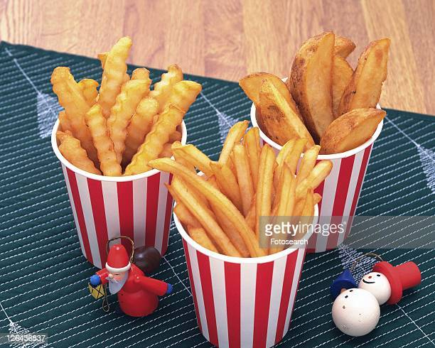 Variety of French Fries, High Angle View