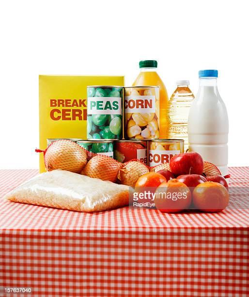 Variedad de nuevas & Encapsulado básico de alimentos Aislado en blanco