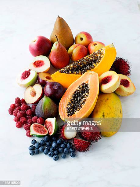 variety of fresh fruits - tropische frucht stock-fotos und bilder