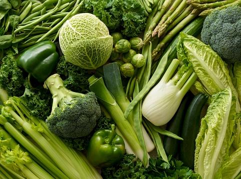 Variety of fresh green vegetables - gettyimageskorea
