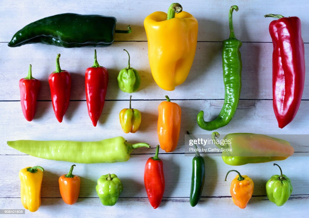 Variety of fresh peppers : Stock Photo