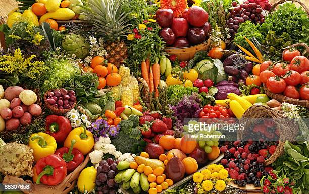 variety of fruits and vegetables - fruit stock pictures, royalty-free photos & images