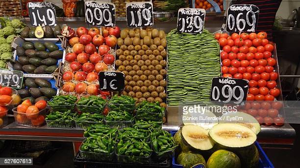 Variety Of Fruits And Vegetables With Price Tag For Sale