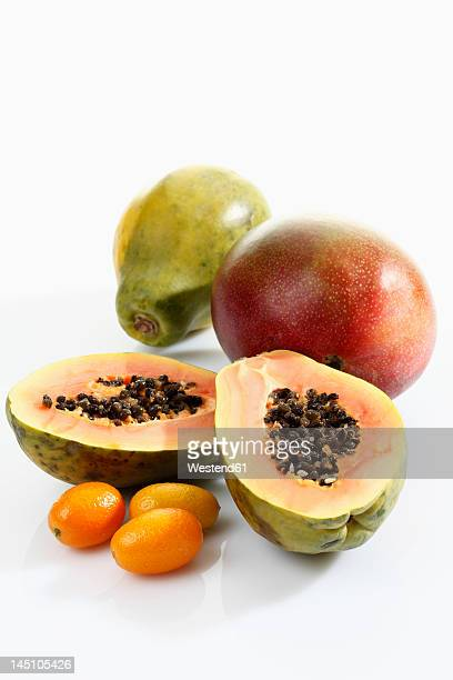 Variety of fruits on white background, close up