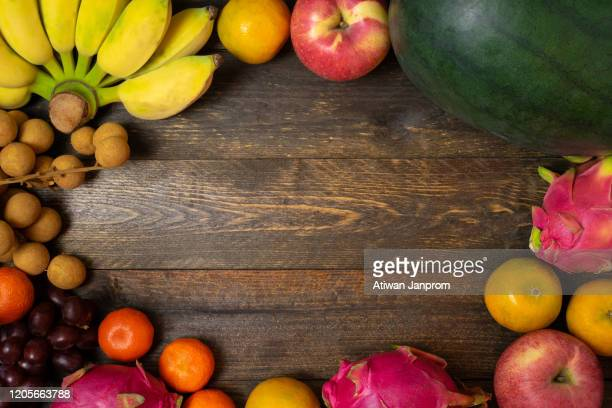 variety fruits with vivid color old