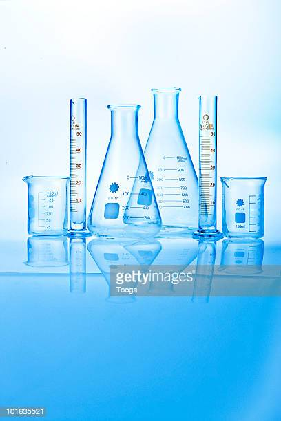 Variety of glass beakers and measuring tools