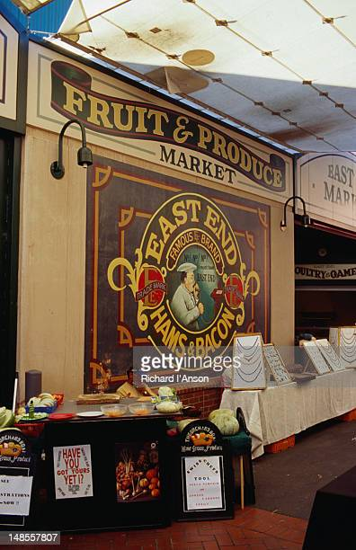 a variety of goods are on sale at the east end market. - adelaide market stock pictures, royalty-free photos & images