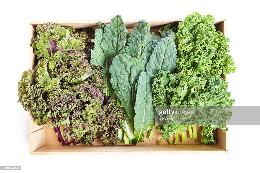 Variety of Green Kale in a Crate on White Background : Stock Photo
