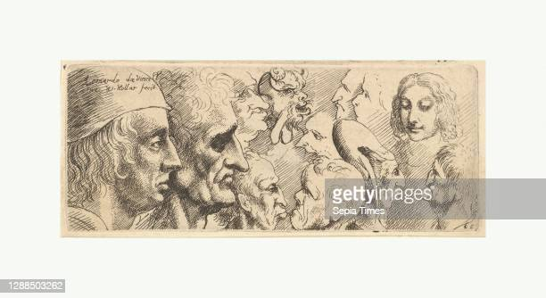 Variety of heads, 1625–77, Etching; second state of two, Sheet: 1 11/16 × 4 3/16 in. , Prints, After Leonardo da Vinci , Various male heads in...