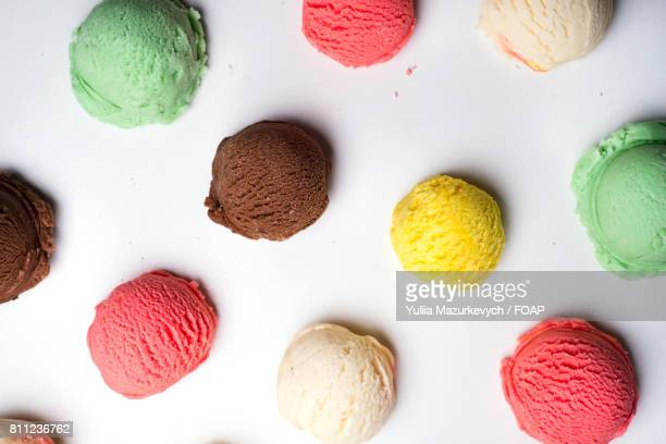 Variety of ice cream ball against white background