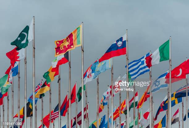 variety of international flags on a cloudy day - 国際連合 ストックフォトと画像
