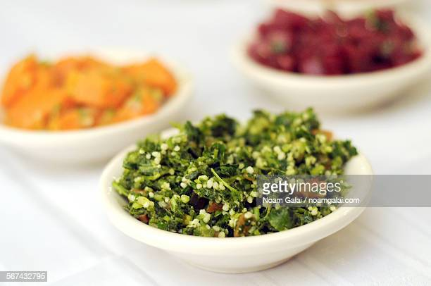 variety of israeli salads - noam galai stock pictures, royalty-free photos & images