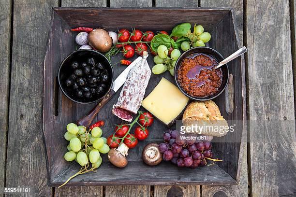 Variety of Italian antipasti