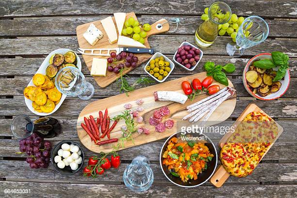 variety of mediterranean antipasti - antipasto stock pictures, royalty-free photos & images