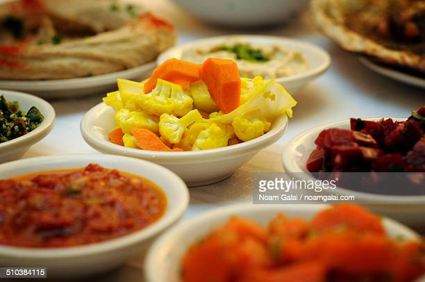variety of middle eastern salads - noam galai stock pictures, royalty-free photos & images