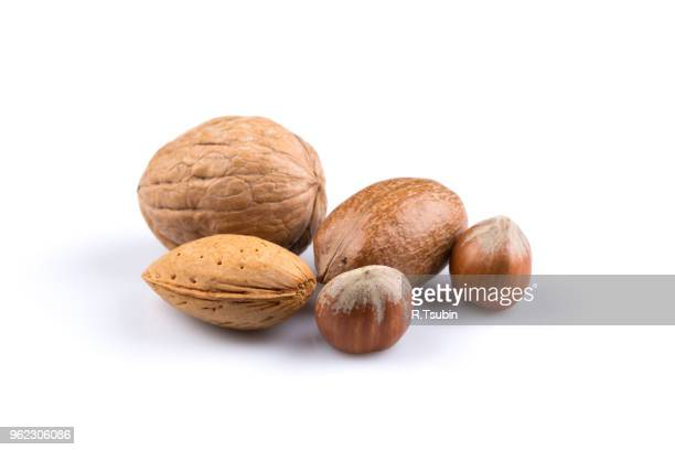 variety of mixed nuts as a background - close up image - brazil nut fotografías e imágenes de stock