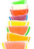 variety multicolored candy fruit slice isolated