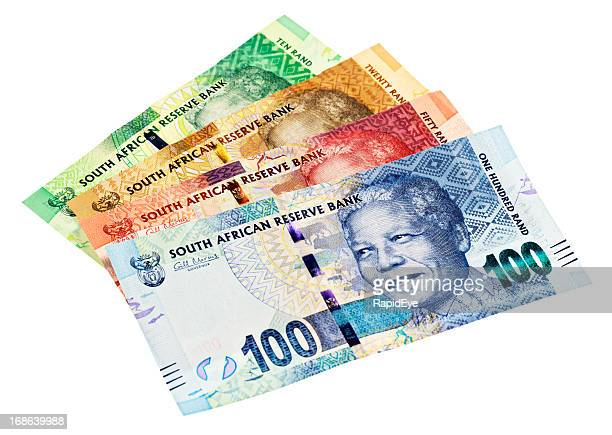 variety of new south african mandela banknotesa - south african currency stock photos and pictures