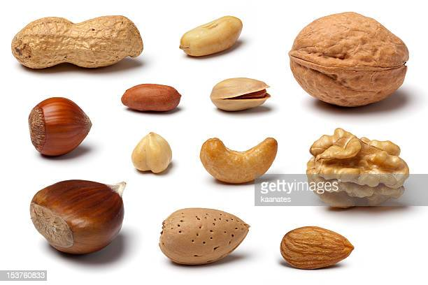 Variety of Nuts on White