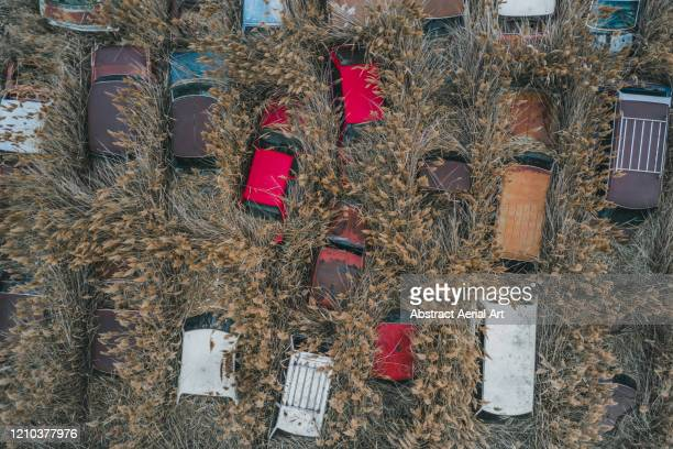 variety of old cars abandoned in the grass, utah, united states of america - destruction stock pictures, royalty-free photos & images