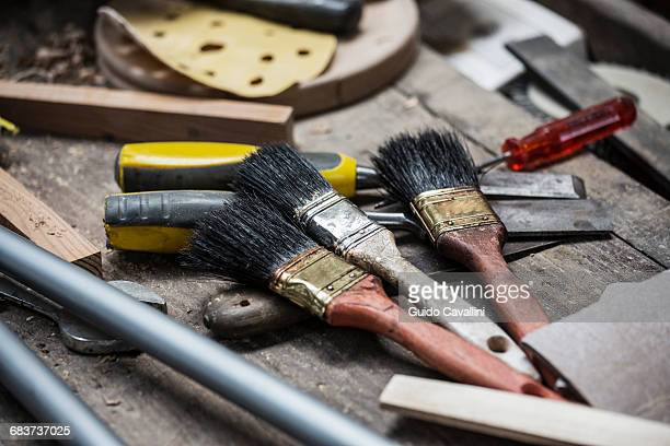 Variety of paint brushes and tools