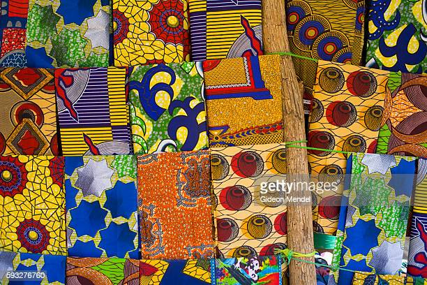 A variety of pieces of material with traditional African designs are sold at the central market in Chirundu These are known in Zambia as Chitenge and...