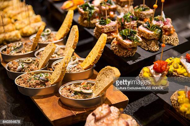 Variety of pintxos tapas. Bilbao, Spain