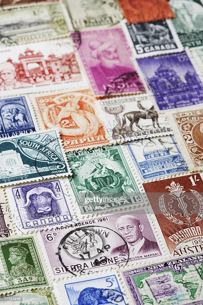Variety of Postage Stamps : Stock-Foto