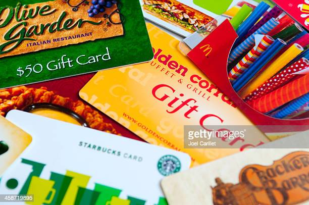 restaurant gift cards - gift card stock photos and pictures