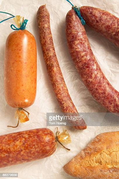 Variety of sausages, elevated view