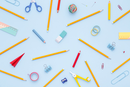 Variety of school supplies. Back to school concept. 603298882