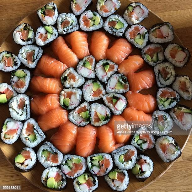 Variety Of Serving Sushi In Restaurant