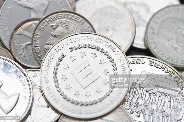 variety of silver coins, close up - 金融政策 ストックフォトと画像