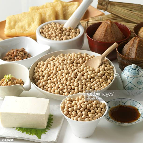 variety of soy products - miso sauce stock pictures, royalty-free photos & images
