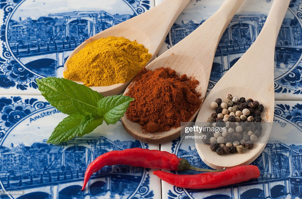 Varietà di spezie ed erbe aromatiche : Foto stock