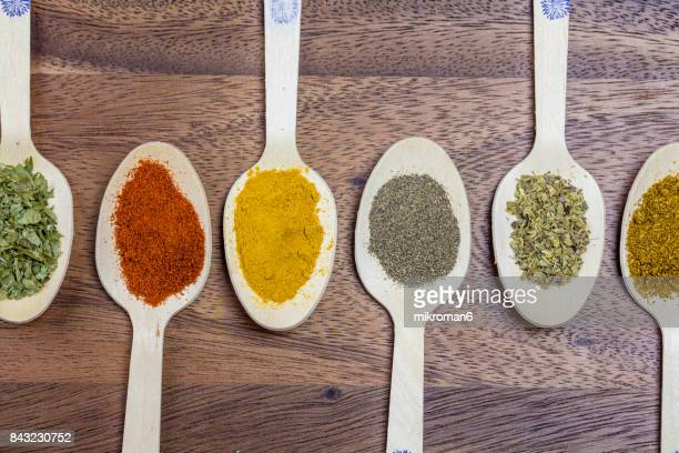 variety of spices, close-up - curry powder stock photos and pictures