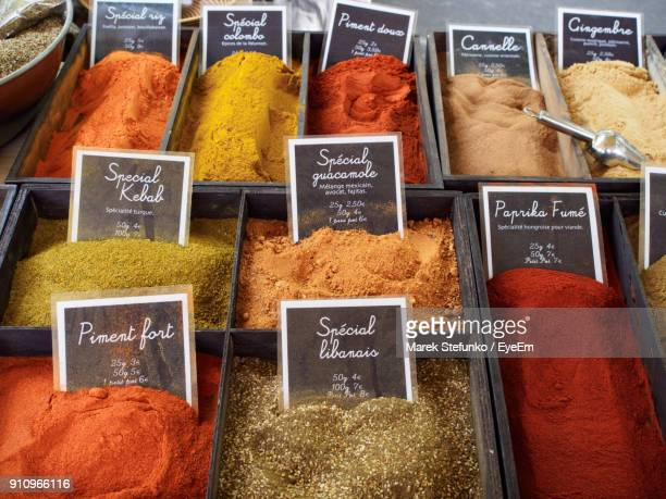 variety of spices for sale at market stall - marek stefunko stock photos and pictures