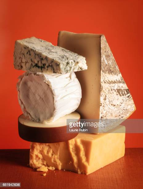 Variety of stacked Cheeses