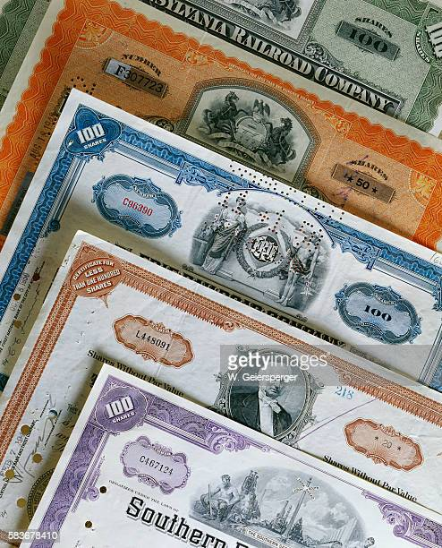 variety of stock certificates - vintage stock stock pictures, royalty-free photos & images