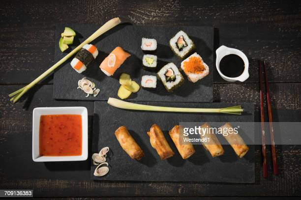 Variety of sushi and spring rolls