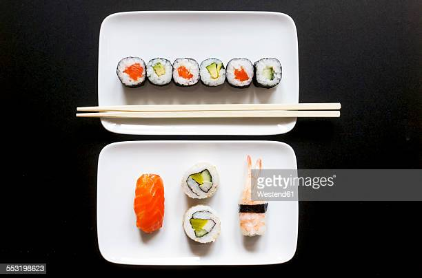 Variety of sushi on plate
