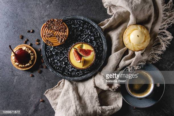 variety of sweet tartlets - cream cake stock pictures, royalty-free photos & images