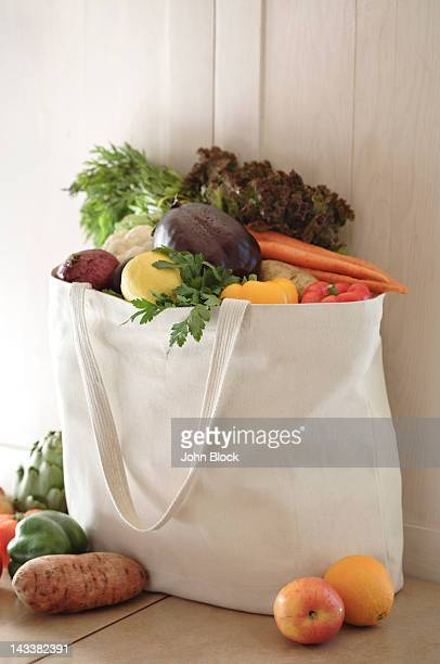 Variety of vegetables in reusable bag