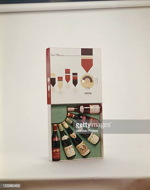 Variety of wine bottles in box