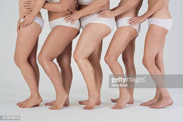 variety of womens naked legs. debica, poland - chubby legs stock photos and pictures