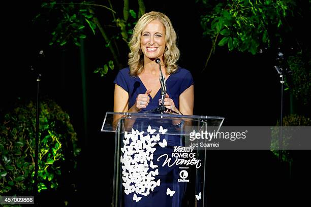 Variety publisher Michelle SobrinoStearns speaks onstage at 2014 Variety Power of Women presented by Lifetime at Beverly Wilshire Four Seasons on...