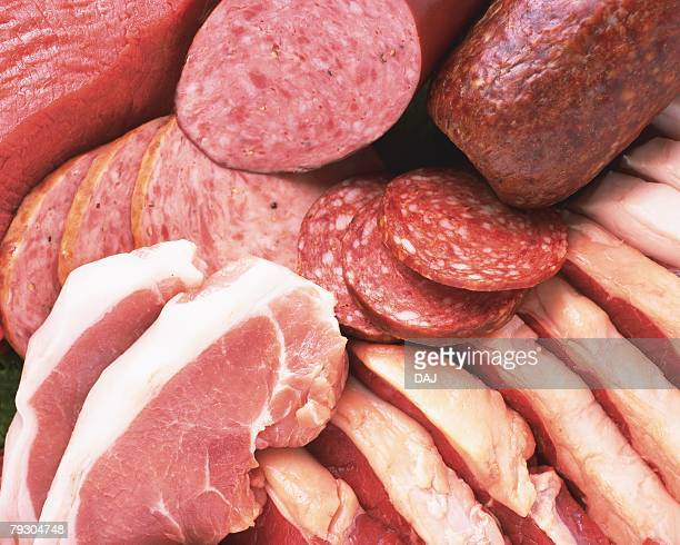 Variety types of processed food(ham, sausage), Full Frame, high angle view, close up