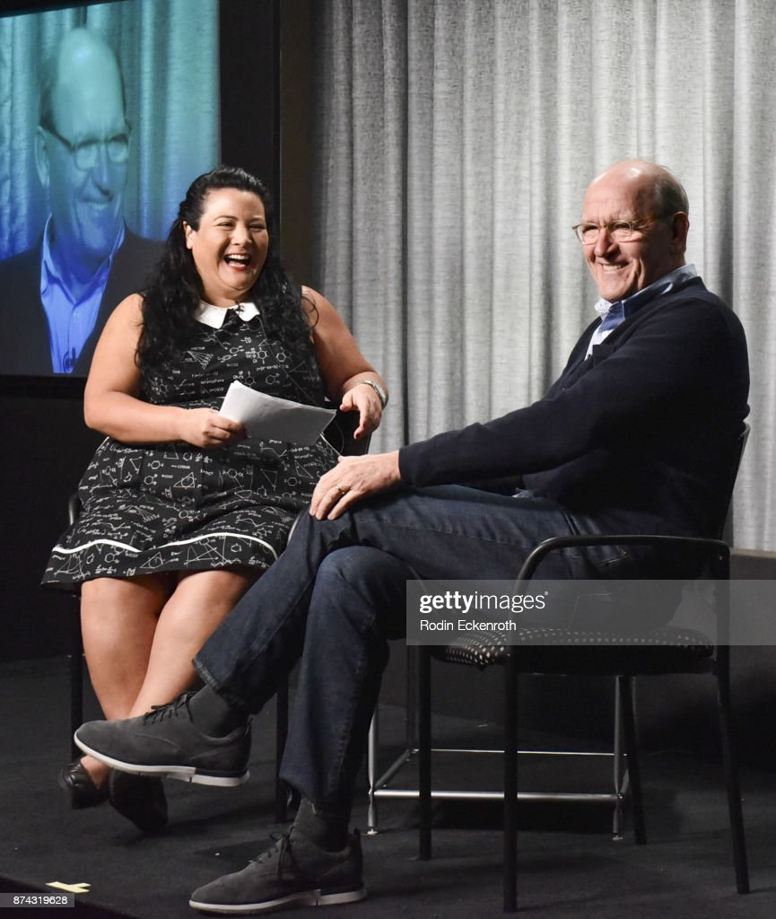 Variety's Jenelle Riley (L) and actor Richard Jenkins speak onstage at SAG-AFTRA Foundation Conversations at SAG-AFTRA Foundation Screening Room on November 14, 2017 in Los Angeles, California.